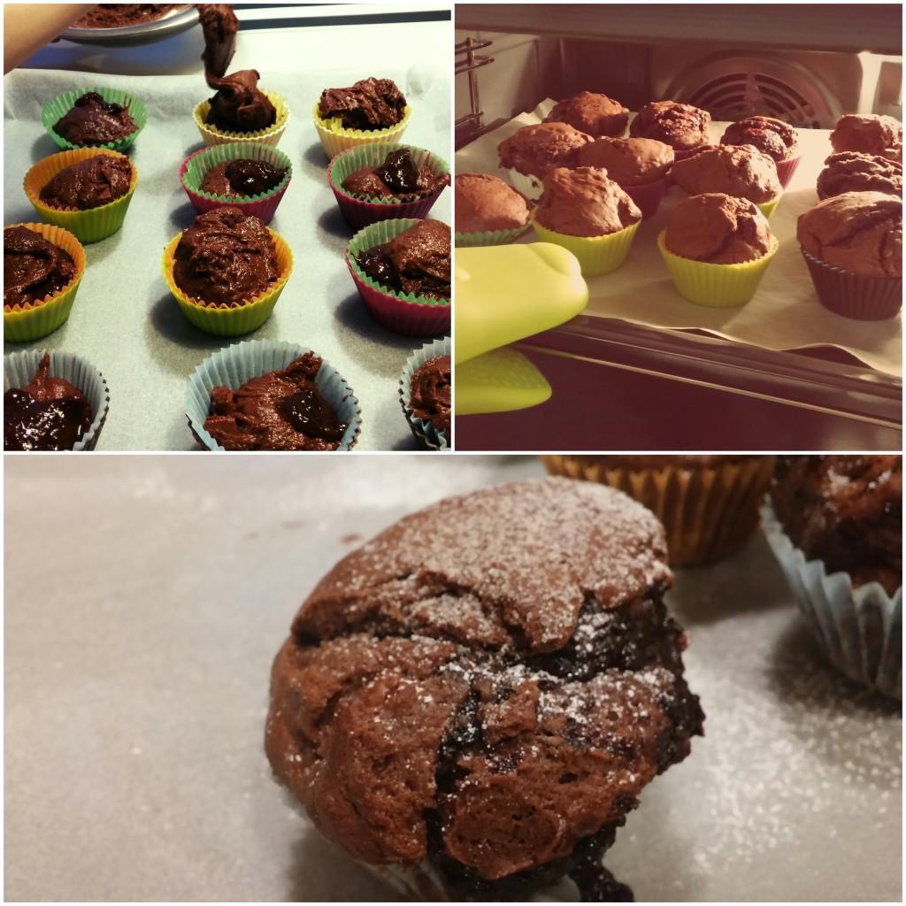 Muffinki czekoladowe z powidłami śliwkowymi