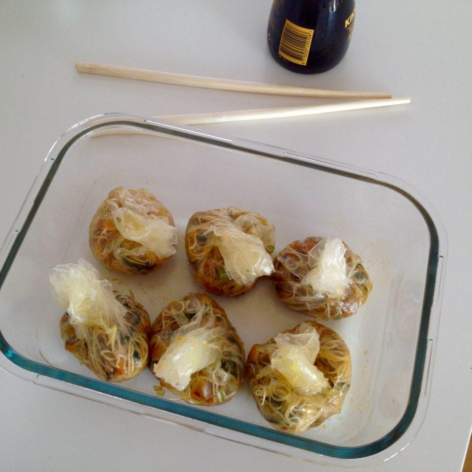 Sakiewki ryżowe z warzywami