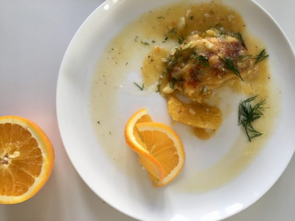 Polędwica z dorsza w sosie dyniowo-pomarańczowym
